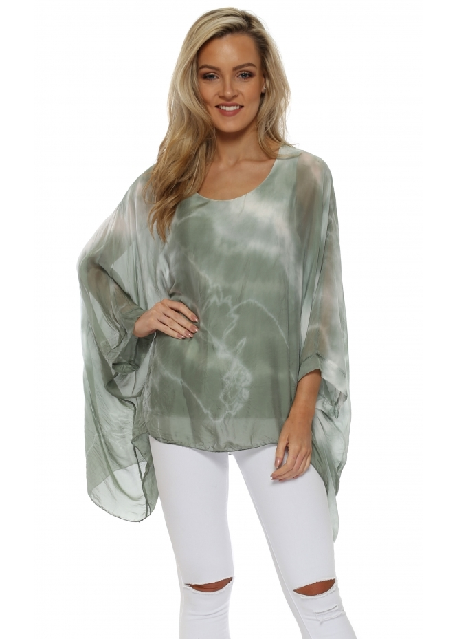 Made In Italy Khaki Tie Dye Floaty Baggy Top