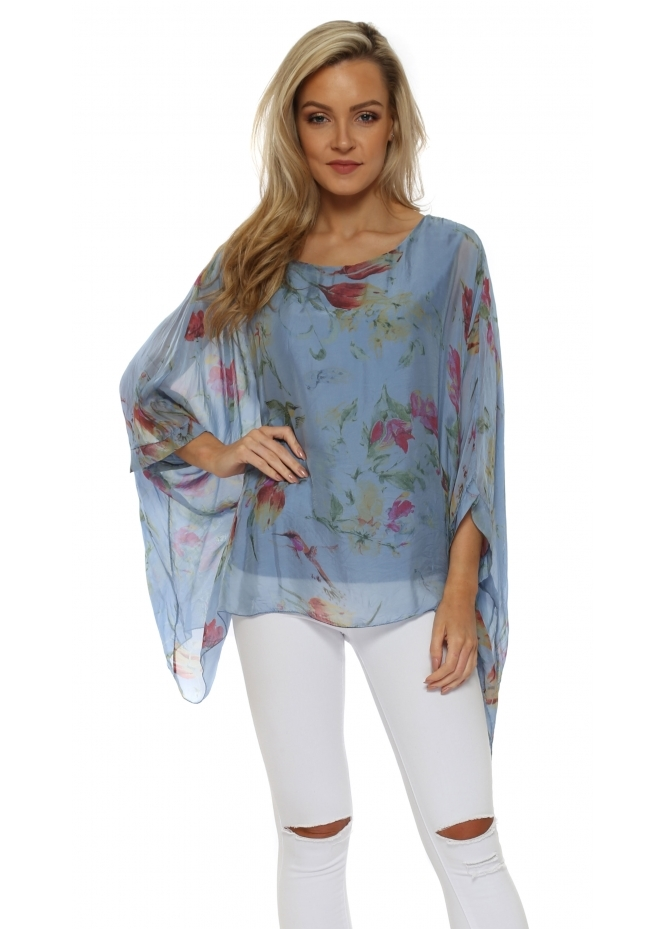 Made In Italy Blue Floral Print Silk Floaty Top