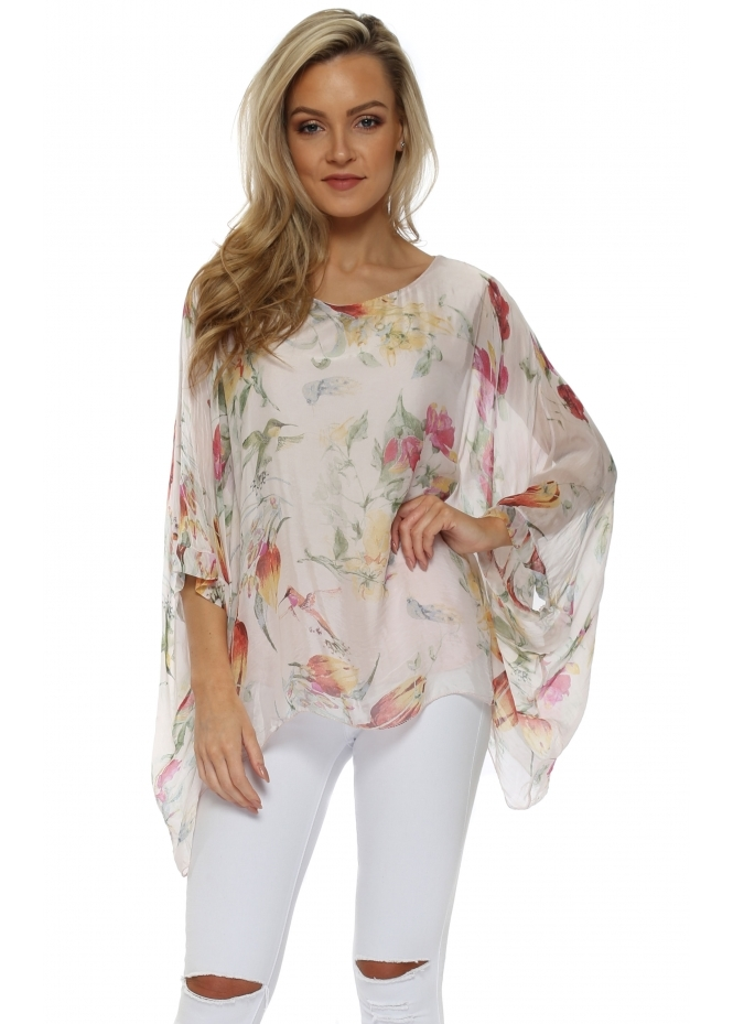 Made In Italy Pink Floral Print Silk Floaty Top
