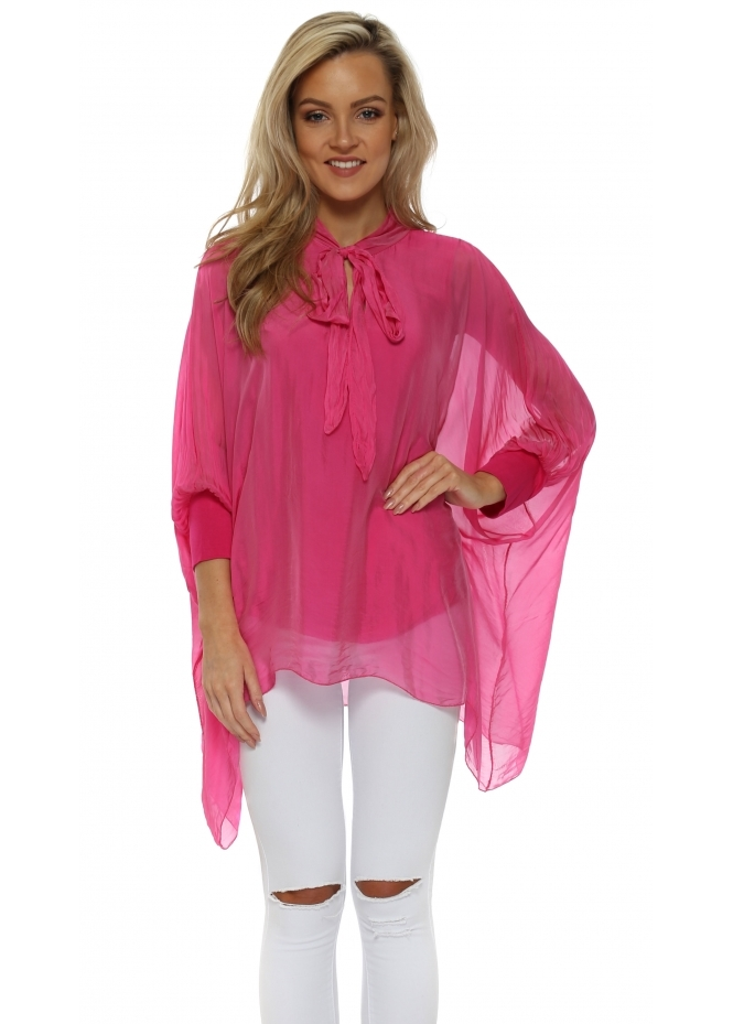 Made In Italy Hot Pink Silk Tie Neck Batwing Blouse