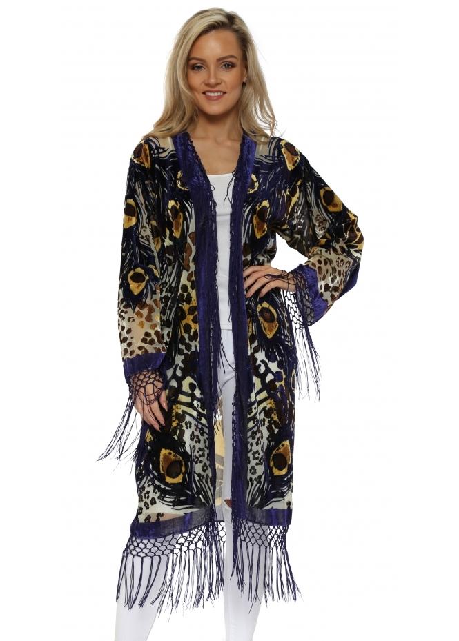 JayLey Tiger Print Long Silk Devore Kimono