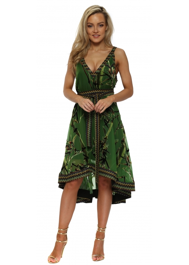 JayLey Green Silk Devore Contrast Braid Swing Dress