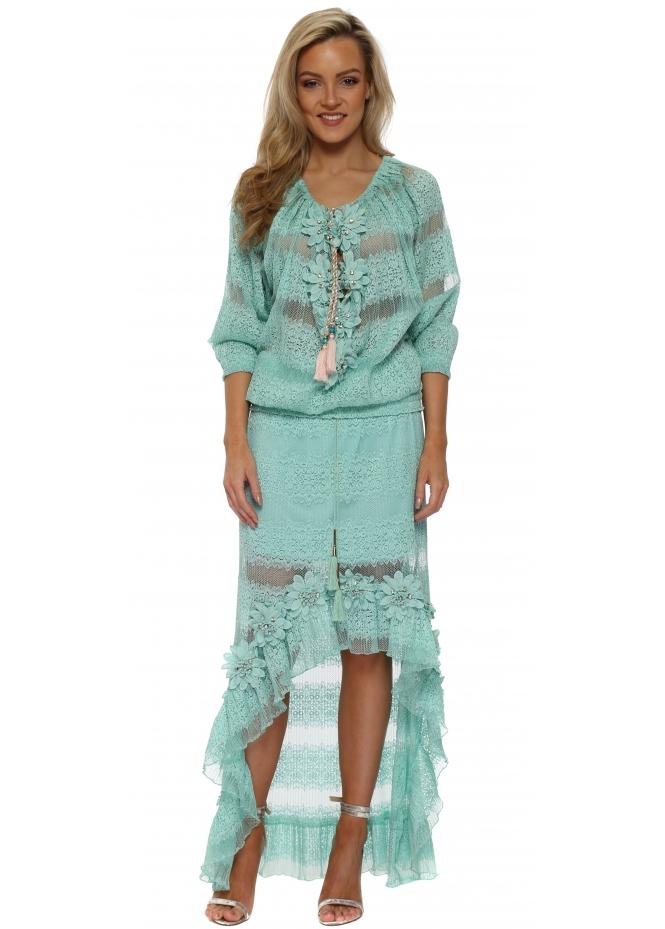 Laurie & Joe Turquoise Floral Diamante Maxi Skirt & Top