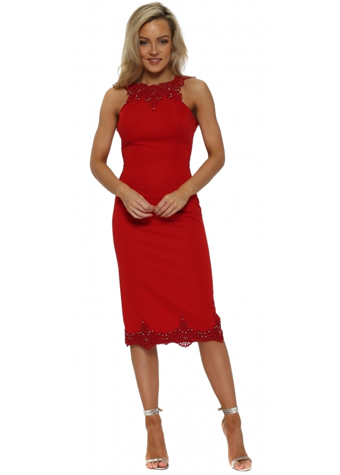 Pia Michi Red Scalloped Lace Backless Pencil Dress