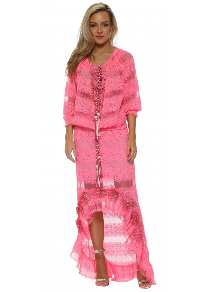 Laurie & Joe Hot Pink Floral Diamante Maxi Skirt & Top