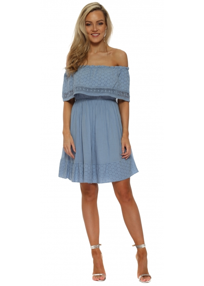 French Boutique Blue Off The Shoulder Summer Mini Dress