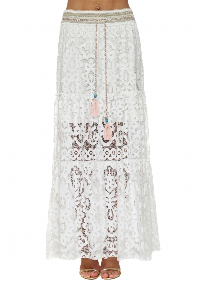 Laurie & Joe White Lace Embellished Maxi Skirt