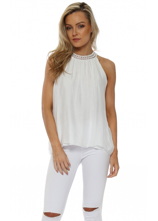 Sugar Babe White Silk Sequinned Neckline Vest Top
