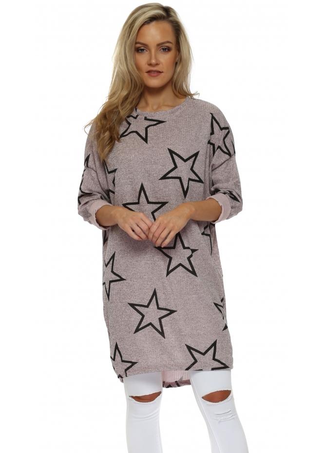 Sugar Babe Pink Marl Star Print Long Sweater