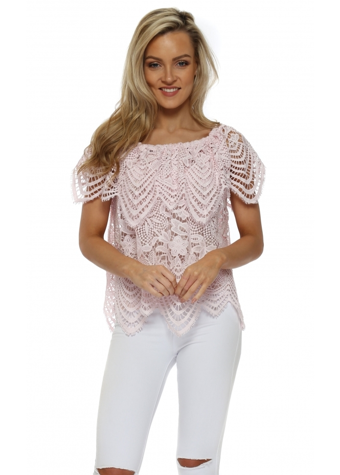 J&L Paris Pink Floral Crochet Bardot Top