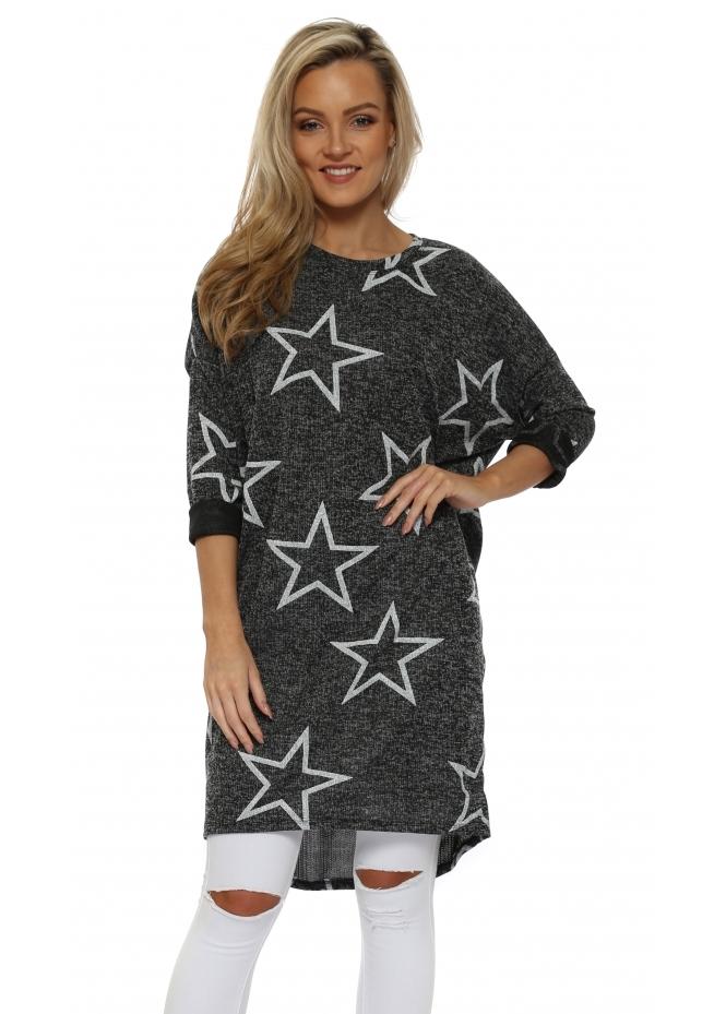 Sugar Babe Grey Marl Star Print Long Sweater