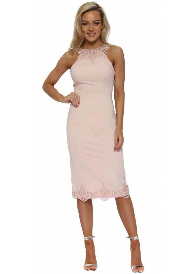 Pia Michi Pink Scalloped Lace Backless Pencil Dress
