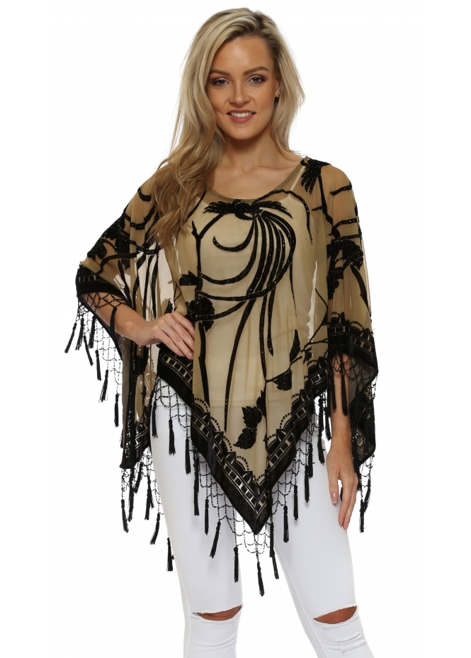 JayLey Black & Gold Silk Devore Tassel Poncho
