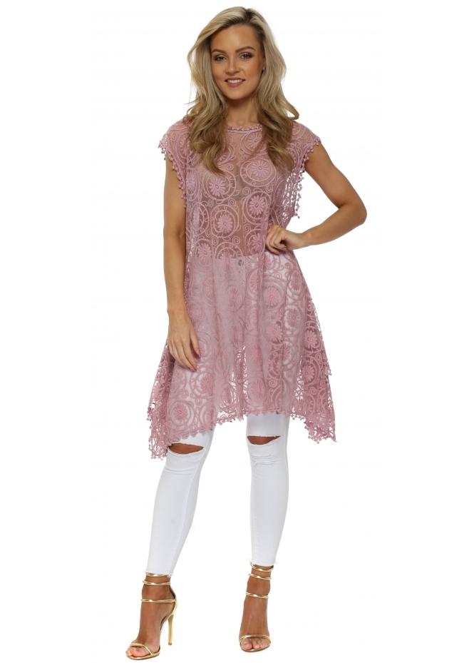 JayLey Dusky Pink Vintage Lace Tunic