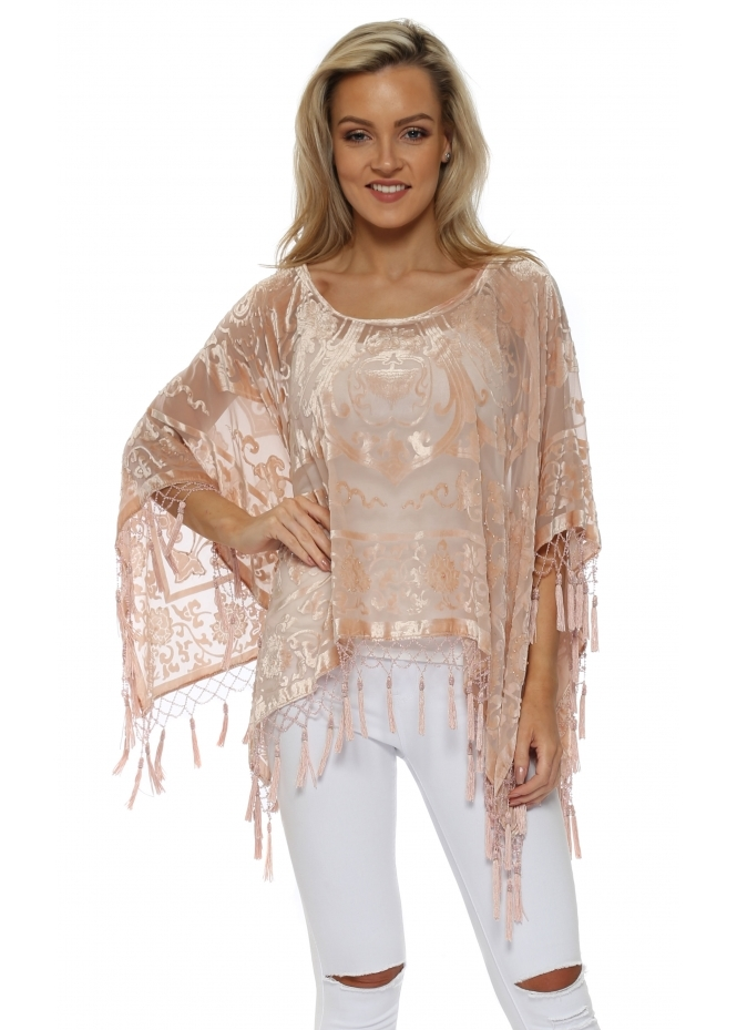 JayLey Blush Pink Silk Devore Beaded Tassel Poncho