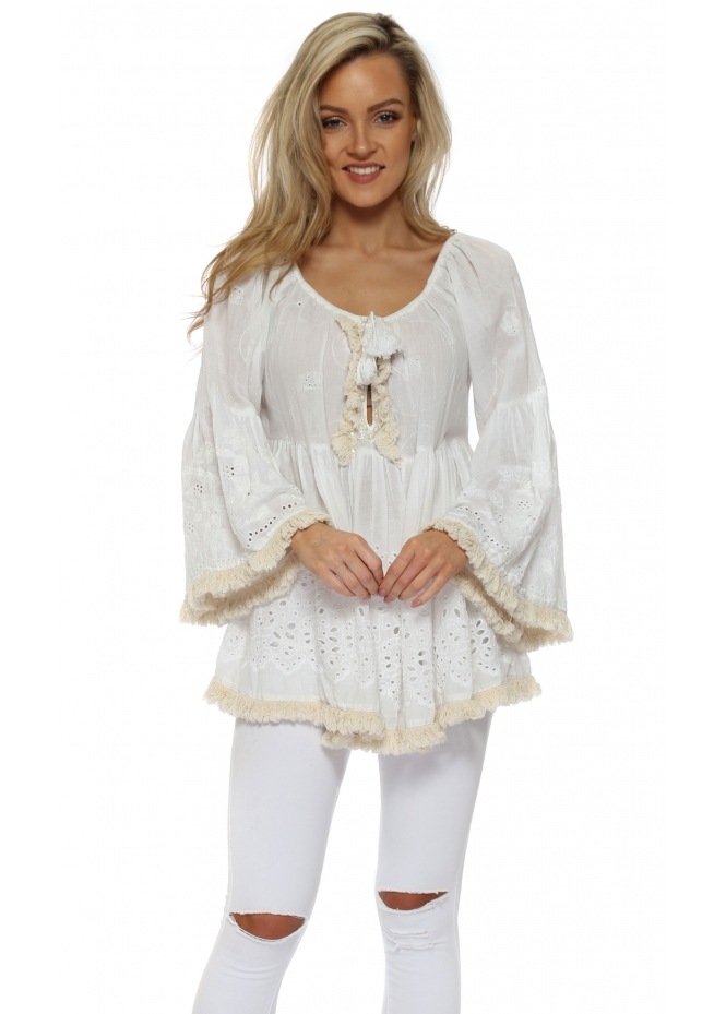 Antica Sartoria White Cotton Pearl & Tassel Embellished Frilly Top