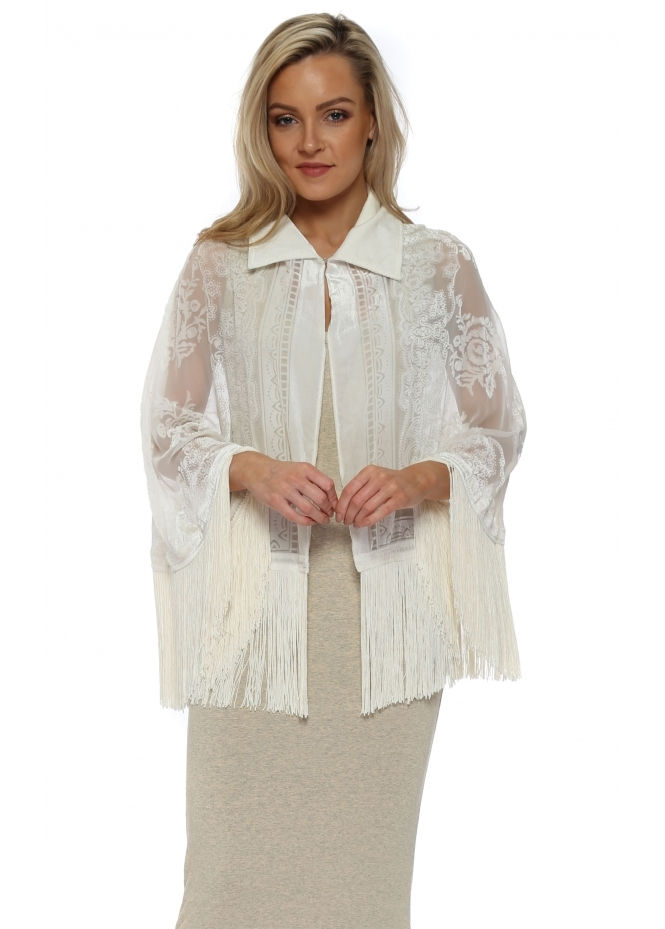 JayLey Cream Silk Devore Tassel Cape