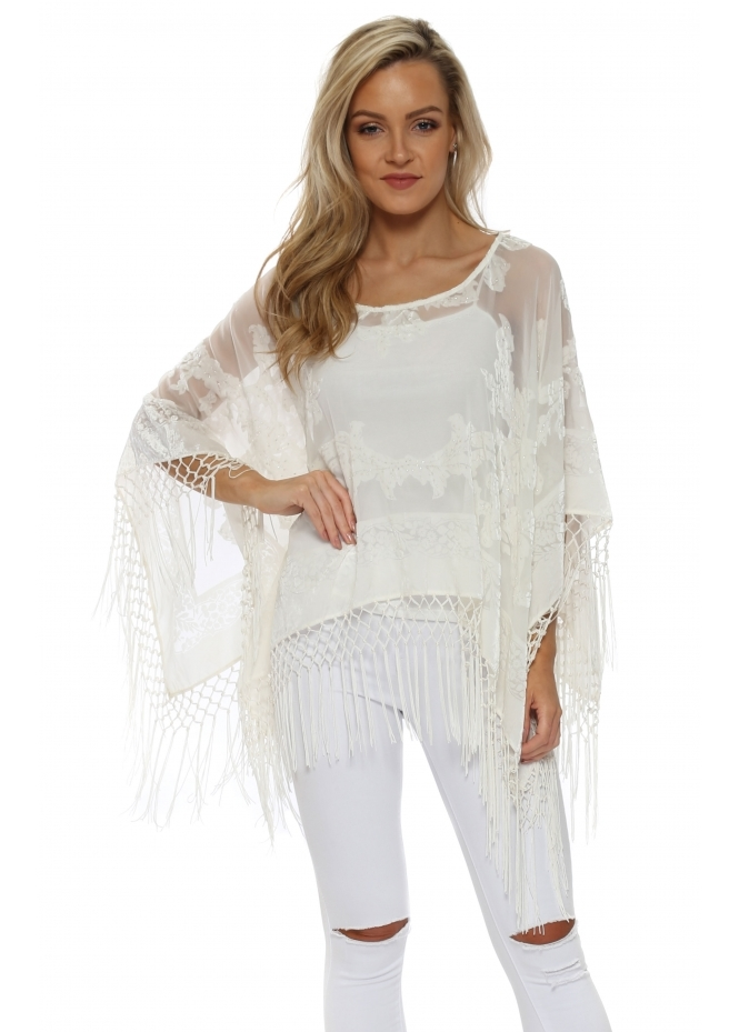 JayLey Cream Silk Devore Tassel Poncho