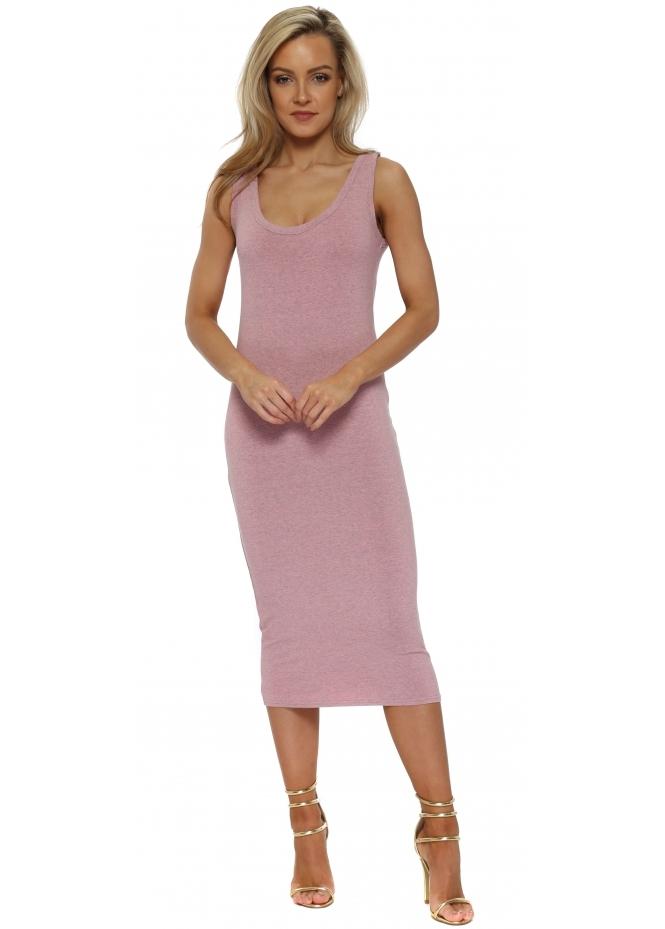 A Postcard From Brighton Nancy Coral Haze Melange Jersey Midi Dress
