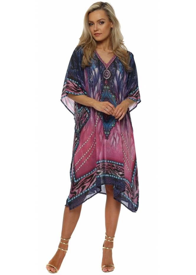 J Adore Purple & Pink Jewel Print Crystal Kaftan