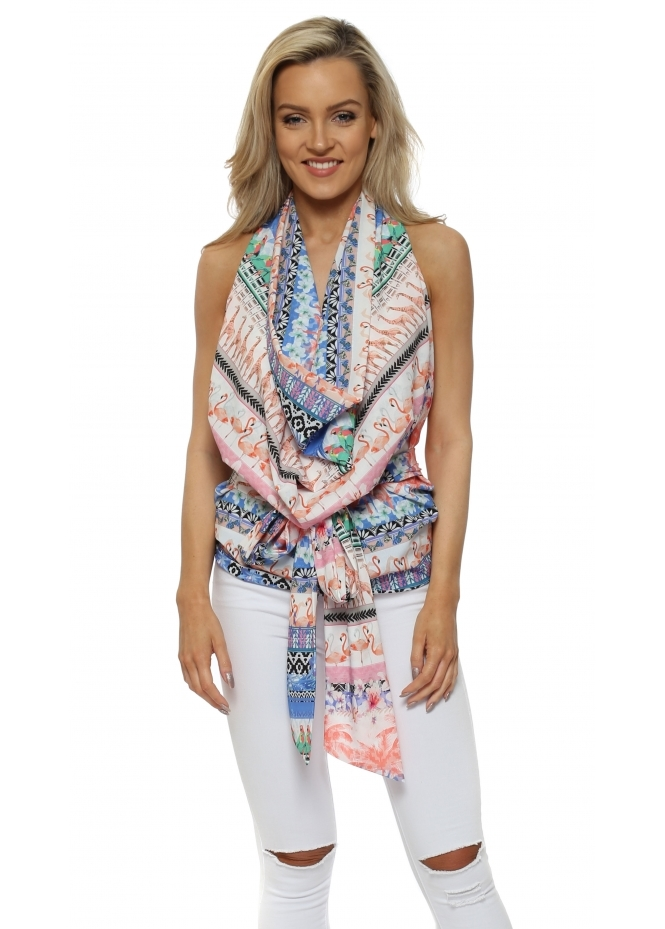 Rebecca Rhoades Lucy Drape Tie Back Halterneck Top In Club Tropicana Print