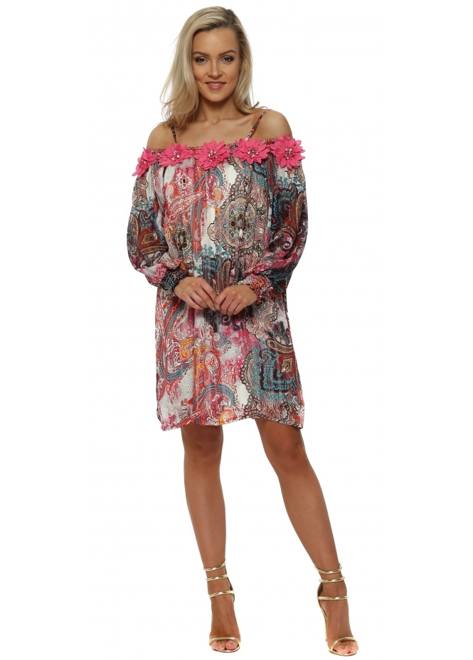 Just M Paris Fleur Pink Paisley Cold Shoulder Shift Dress