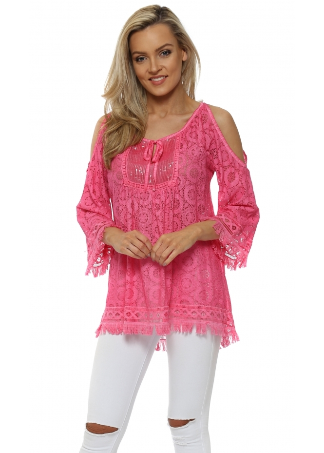 Made In Italy Hot Pink Lace Sequinned Cold Shoulder Top