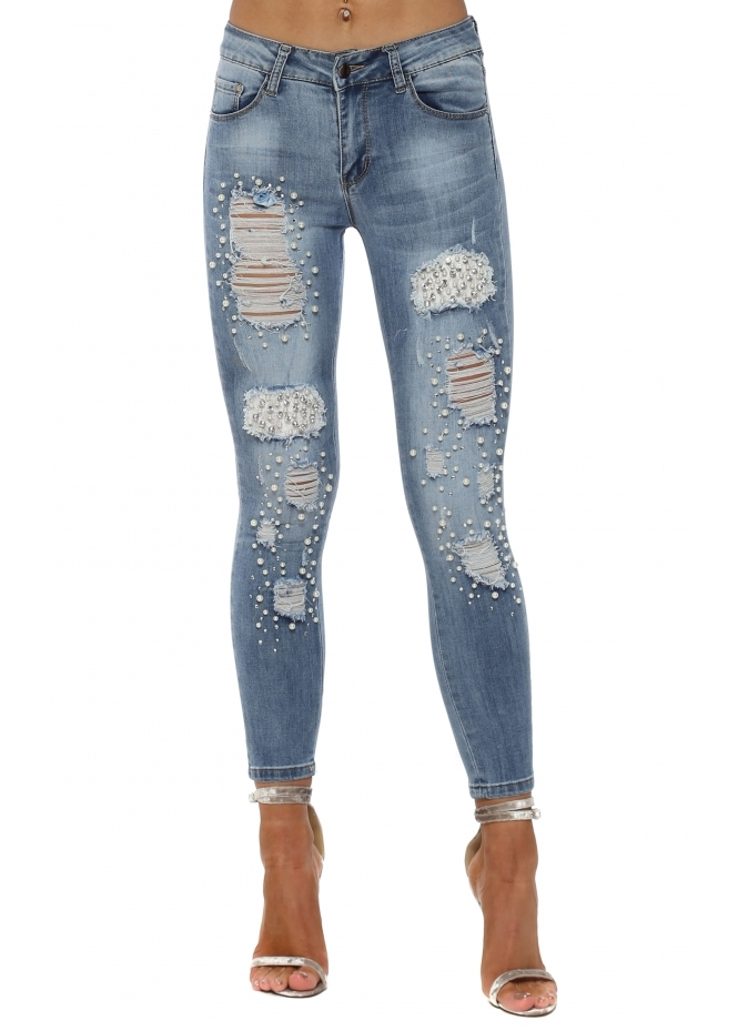 French Boutique Lace Diamante & Pearl Distressed Skinny Jeans