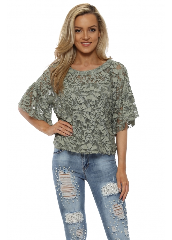 J&L Paris Khaki Floral Lace Short Sleeved Cropped Top