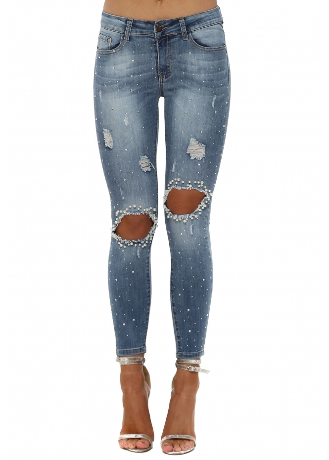 French Boutique Diamante & Pearl Ripped Knee Skinny Jeans