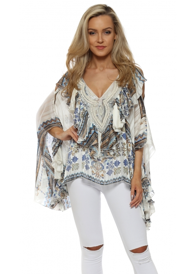 My Story Blue Tapesetry Print Beaded Cold Shoulder Ruffle Top