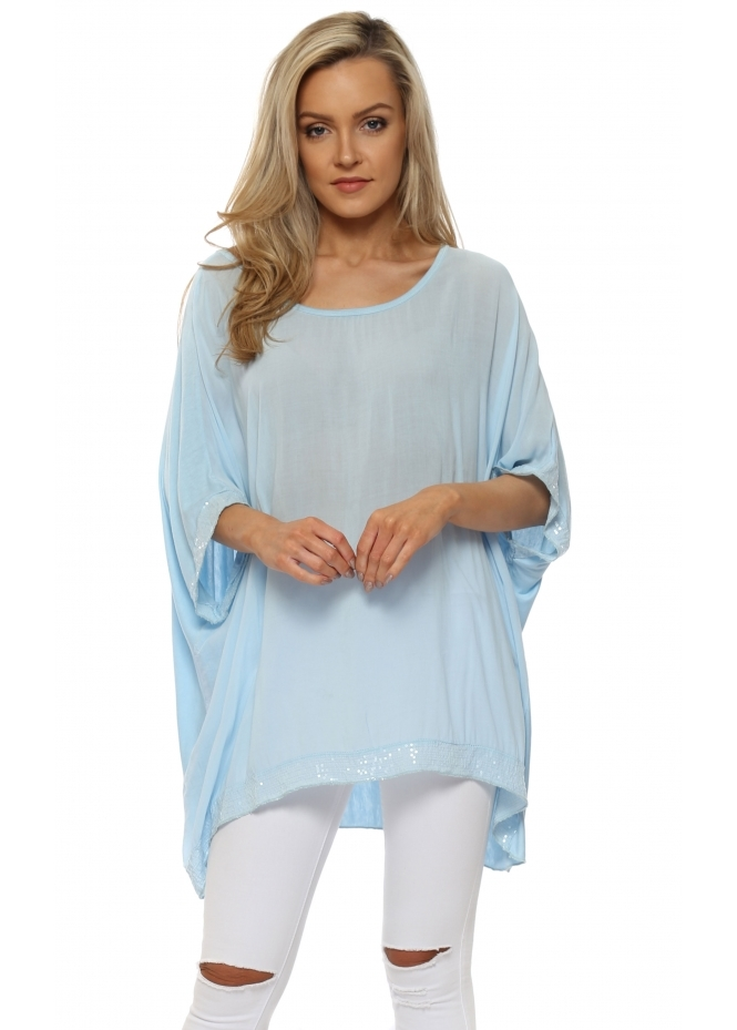 Made In Italy Baby Blue Sequinned Oversized Slouch Top
