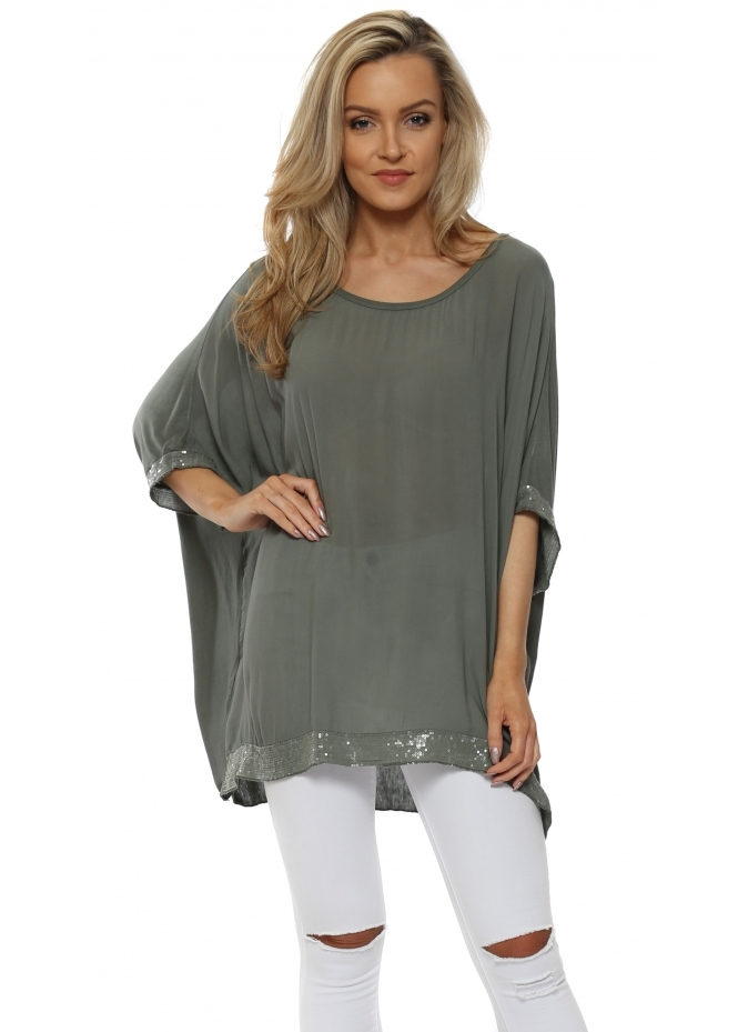 Made In Italy Khaki Sequinned Oversized Slouch Top