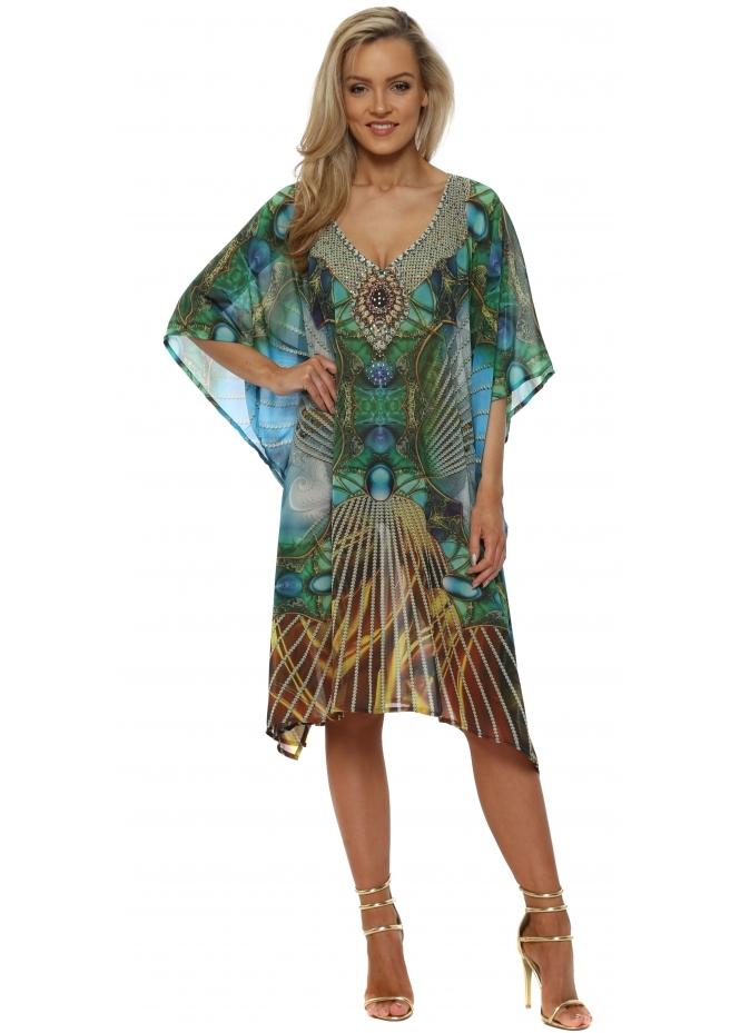 J Adore Green & Aqua Jewel Print Crystal Kaftan