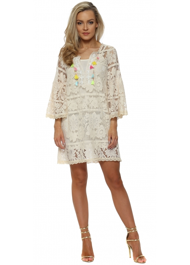 J&L Paris Beige Lace Multi Tassle Shift Dress