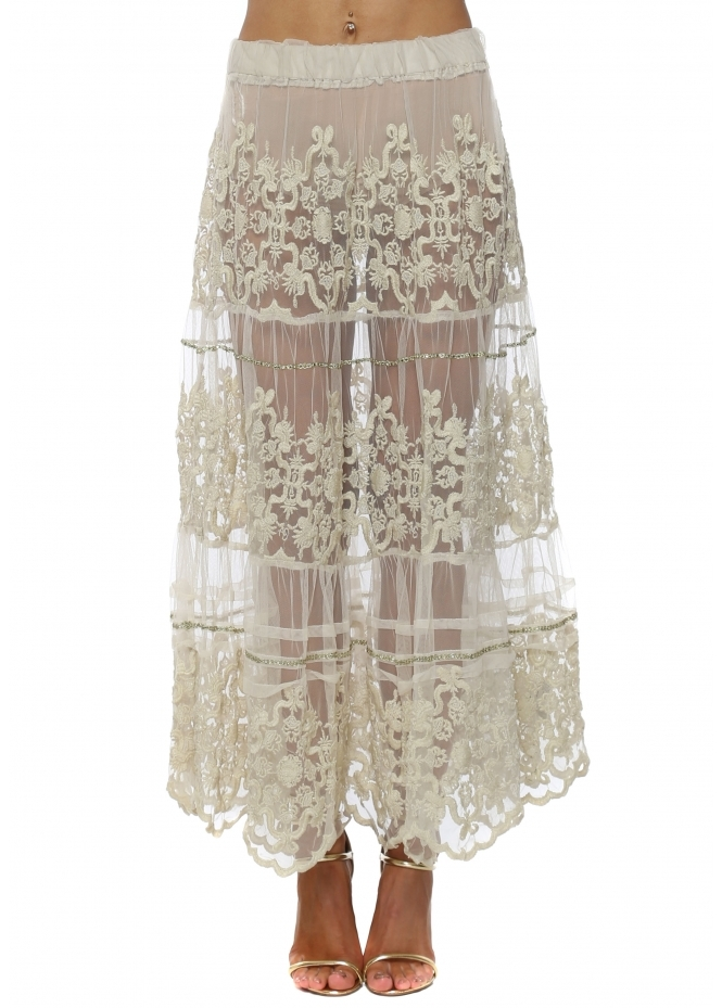 Antica Sartoria Beige Sheer Lace Sequin Embellished Maxi Skirt