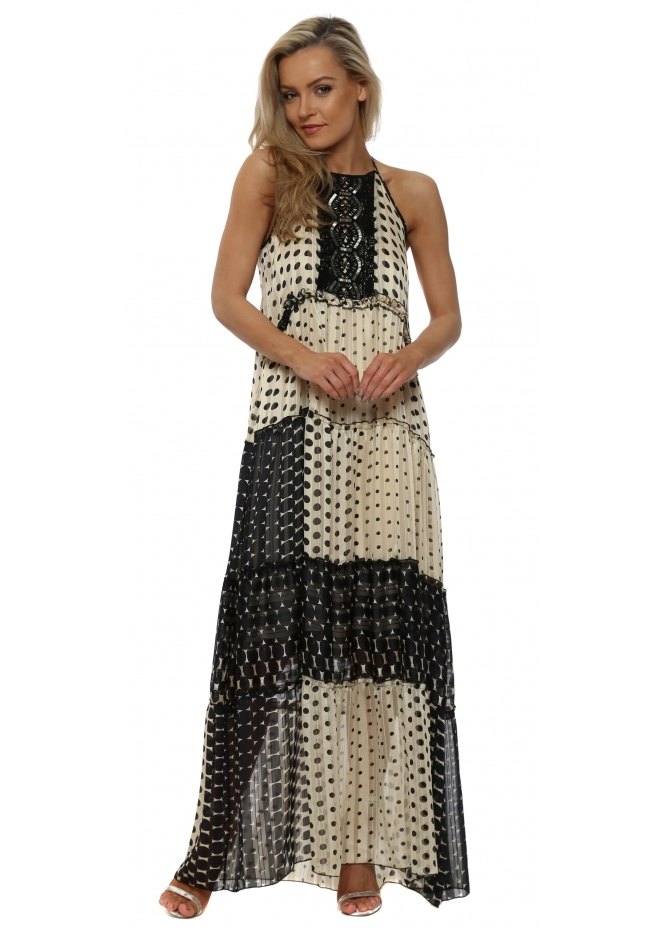 My Story Black & Cream Polka Dot Halterneck Maxi Dress