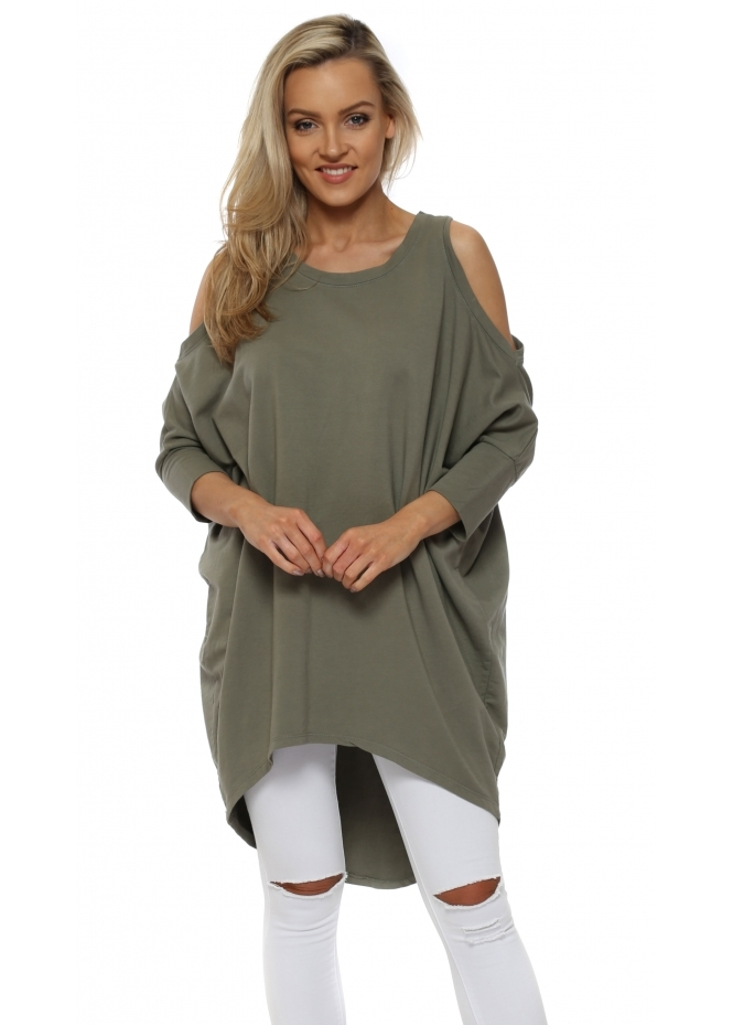 French Boutique Khaki Cold Shoulder Long Cotton Sweatshirt