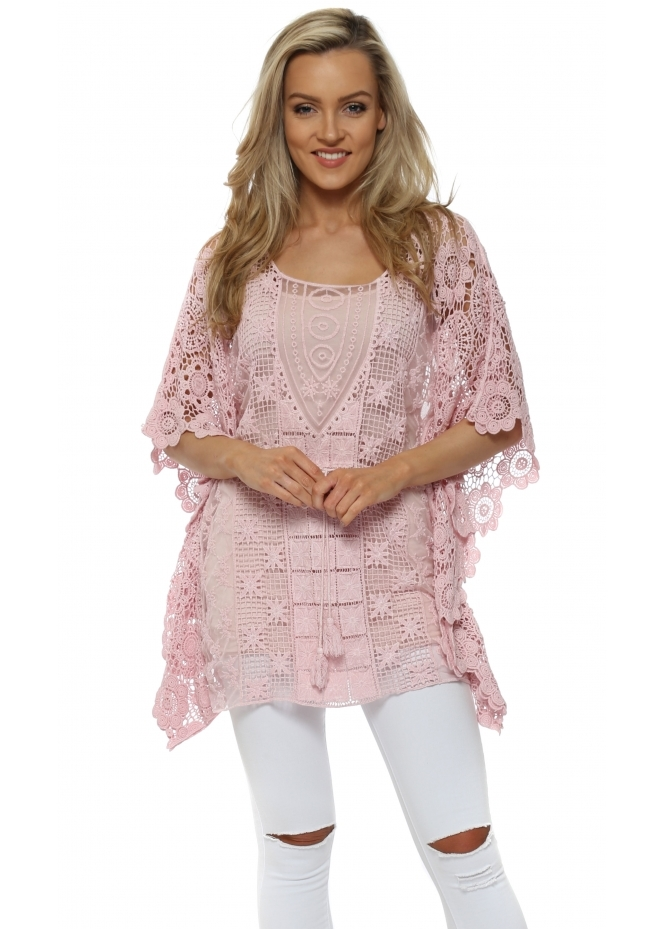 Monton Pink Cotton Crochet Kaftan Top