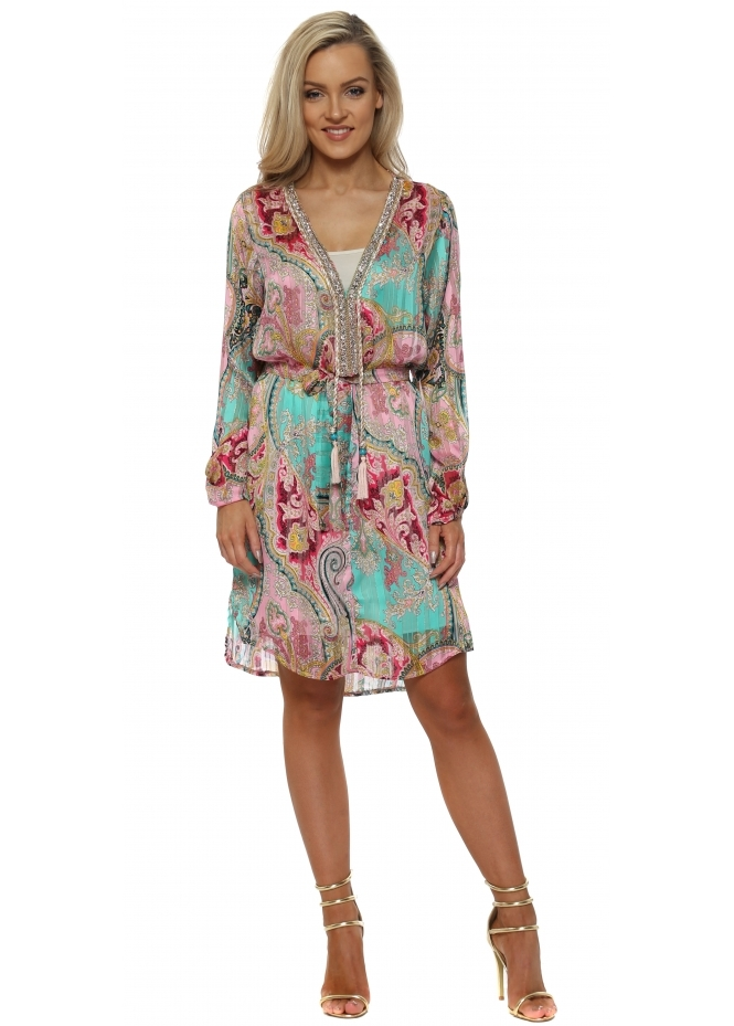 Just M Paris Green & Pink Paisley Print Crystal Neckline Dress