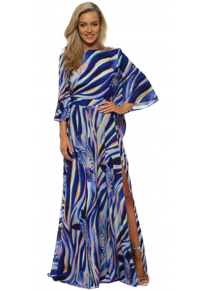 Rebecca Rhoades Esme Blue Zebra Dream Reversible Maxi Dress