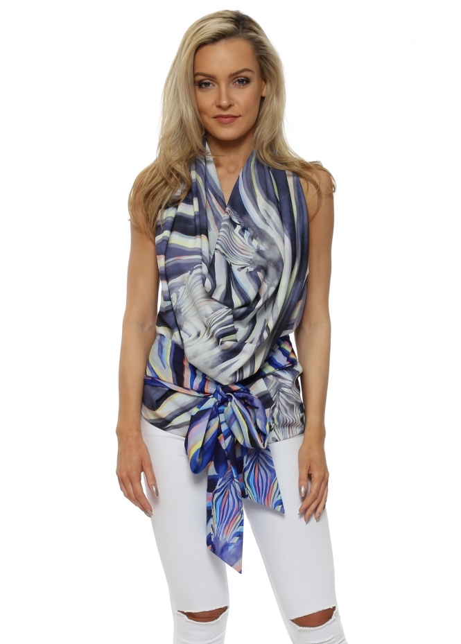 Rebecca Rhoades Lucy Drape Tie Back Halterneck Top In Zebra Dreams Print
