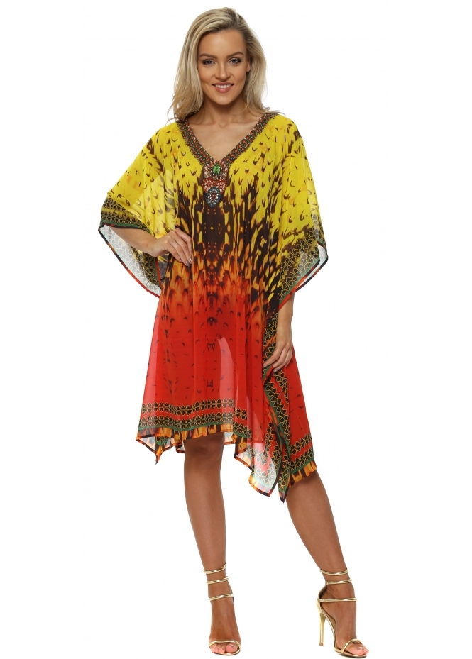 J Adore Yellow & Orange Crystal Kaftan
