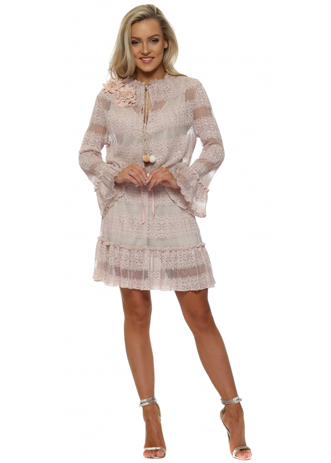 My Story Nude Lace Pom Pom Tie Mini Dress
