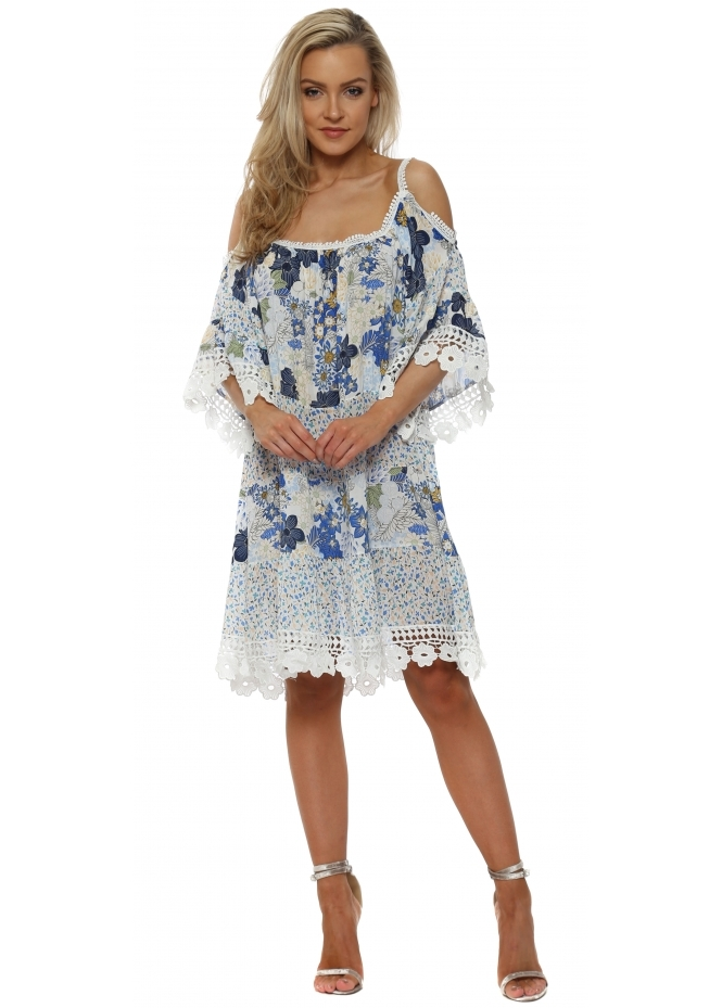 J&L Paris Blue Floral Scalloped Crochet Summer Dress