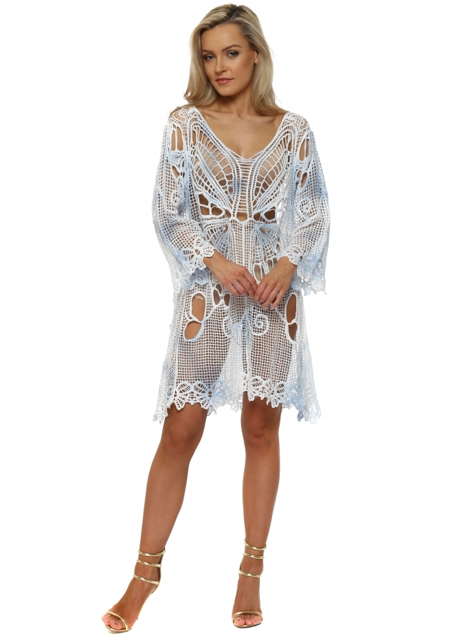 Made In Italy Blue & White Crochet Butterfly Beach Dress