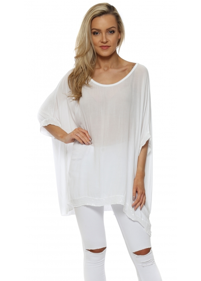 Made In Italy White Sequinned Oversized Slouch Top