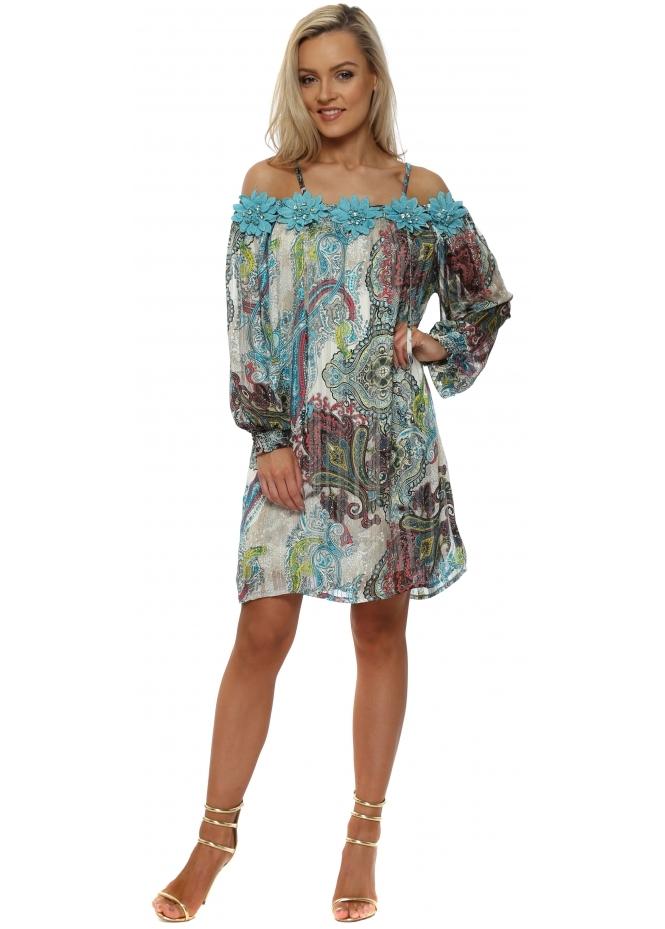 Just M Paris Fleur Blue Paisley Cold Shoulder Shift Dress