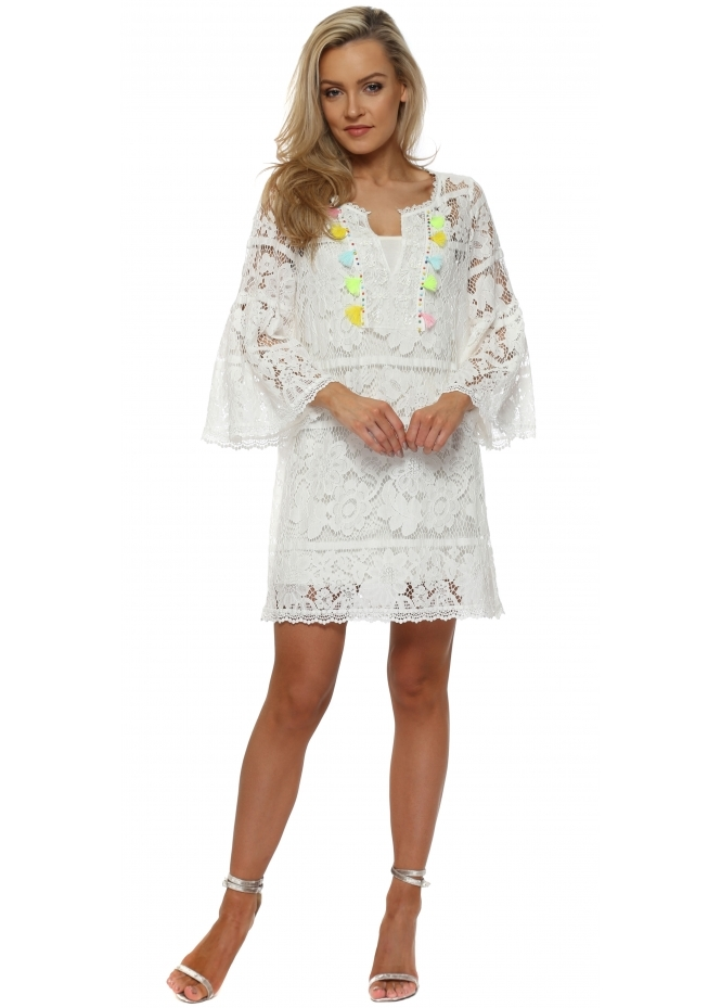 J&L Paris White Lace Multi Tassle Shift Dress