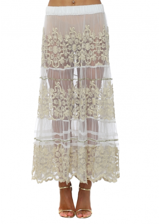 Antica Sartoria White Sheer Lace Sequin Embellished Maxi Skirt
